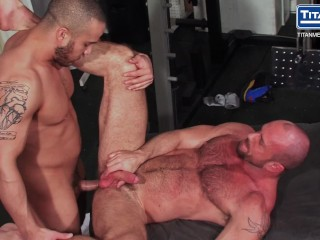 Locker Room Muscle Massage Daddy Gets Hole Drilled