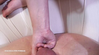 Prostate massage by dressed up wife Gagging face