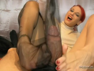 Footjob and cum inside stocking
