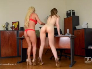 Two Newcomer Russian babes stuffed by large Cock.