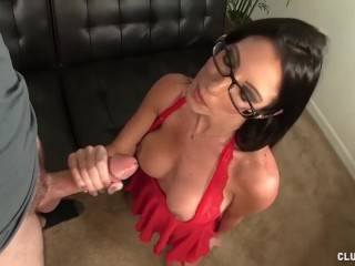 Hot brunette milf fhandjob