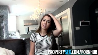 PropertySex - Tenant with amazing natural boobs busted for porn torrents Asian reality