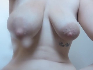 HD Dirty talking MILF plays with tits and hairy pussy naughty lactation