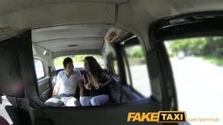 FakeTaxi Spanish couple have hot sex in back of taxi Nyce natural