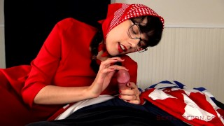 Slutty Red Riding Hood Blowjob Smoke cigarette