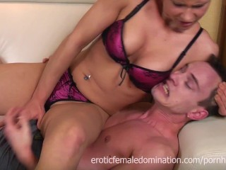 Short haired girlfriend ballbusting her boyfriend