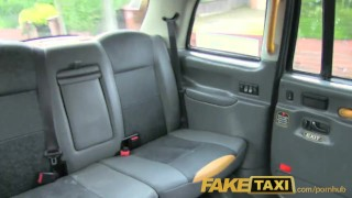 FakeTaxi Back seat fucking for hot Romanian babe with huge natural tits Style threesome
