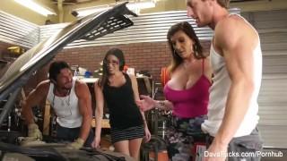 Busty hotties Dava and Sara fuck the mechanics Tolerance ztod