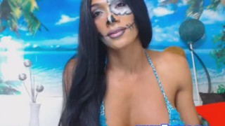 Pretty Shemale Show Her Tits On Cam Piercing up