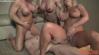Three Muscle Women Fuck Some Wimp
