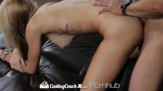 CastingCouch X First audition for skinny Samantha Nixon with big boobs