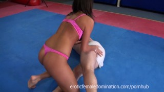 Melanie Memphis chases guy around tatami to ballbust him  mixed wrestling dominatrix slave cuckolding bdsm cuckold facesitting femdom fetish wrestling kink humiliate joi mistress female domination melanie memphis