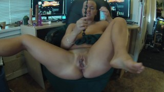 Trying out my anal sex toy in my office.