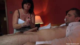 Handjob mom friend's taboo george footjob and his session handjob and