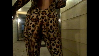 Hot drunk neighbor gives amazing blowjob on Halloween!!! Solo young