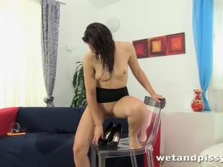 Glass of piss for a lovely brunette slut
