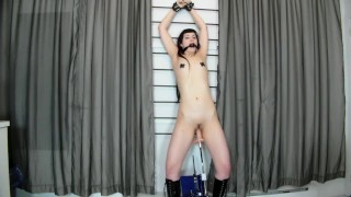 Hot Goth Babe Gagged & Teased By A Fucking Machine Dildo While In Bondage