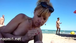 blowjob on public beach by naomi1 cap agde cum