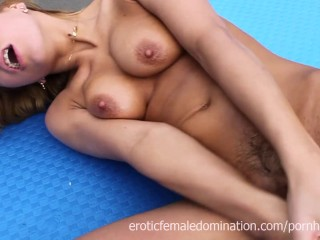 Tight ass girl masturbating with a dildo on the rooftop
