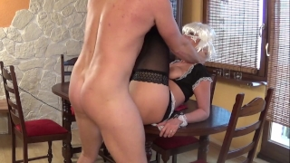Sexy Teen Maid doing Blowjow and gets Creampies on the table Black shemale