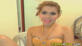 Hot Asian Tranny with Hard Cock