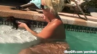 Carly Parker having a good time on the pool