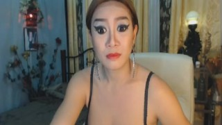 Gorgeous Asian Shemale on Cam Toys hair