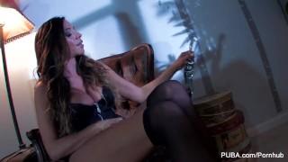 Ariella Ferrera fucks herself with a big glass toy Cock sex