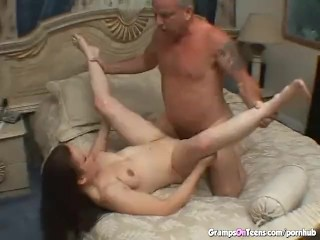 Nasty brunette getting facebook and banged by old fart