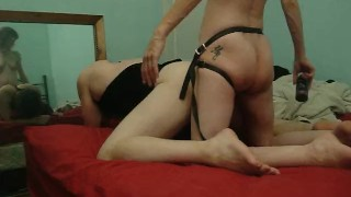Strapon Reflection hardcore mother pegging femdom milf amateur-wife kink mom strapon