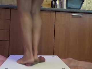 Bare foot cock and ball massage, tease and trample crushing