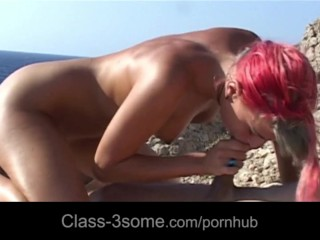 Boat captain fucking four hot girls at the shore