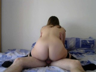 Girlfriend in stockings riding my cock