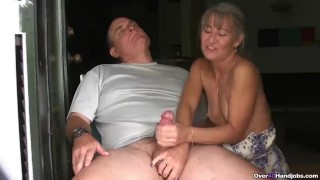 Mature couple handjob