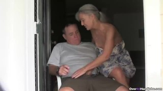 Mature couple handjob