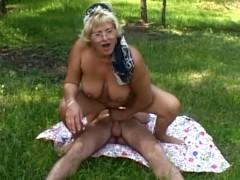 Blonde Farm Granny Outdoor Fucks The Farm Boy