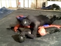 black spandex man humps spiderman and frogman