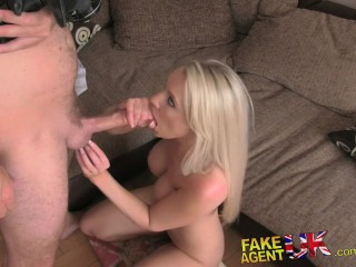 FakeAgentUK Massive facial for South African blue eyed babe