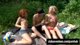Sexy teens gets facialized outdoors  teen big-cock outdoors cock-sucking redhead russian blonde public young hardcore 3some babes threesome small-tits teenager facial clubseventeen