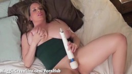 Maggie Green Gets Off With Hitachi While Giving BJ!
