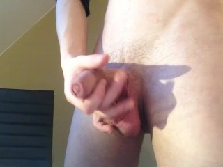Boy is jerking and cumming in front of the webcam