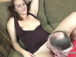 Amateur brunette Alisha Adams licked out then fucked with cum on leg