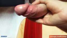 Athletic guy gets wanked his huge cock by us in spite of him !