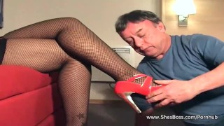 Thick ebony mistress takes a licking from an old guy ebony feet lingerie femdom face sitting fishnet kink amateur glasses shesboss high heels booty pussy licking