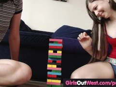 Hot pale amateur lesbians give rimjobs to each other