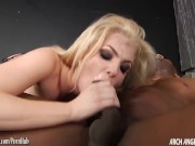Blonde cutie taking on big black cock