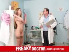 Perverted elder doctor and russian babe Olga Barz vagina exam