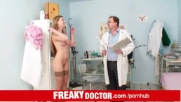 Perverted elder doctor and russian babe Olga Barz vagina exam