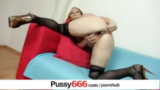 Chubby redhead Samantha vagina gape using a pussy retractor