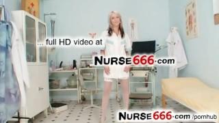 Hot uniform blonde Karolina dirty masturbation and pussy close-ups